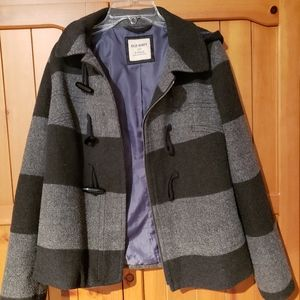 Old Navy grey and black wide striped toggle jacket